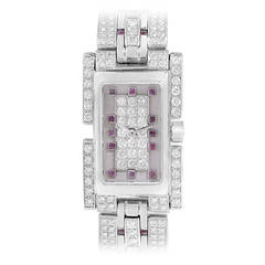 Fred Ladies White Gold Diamond Ruby Bracelet Quartz Wristwatch