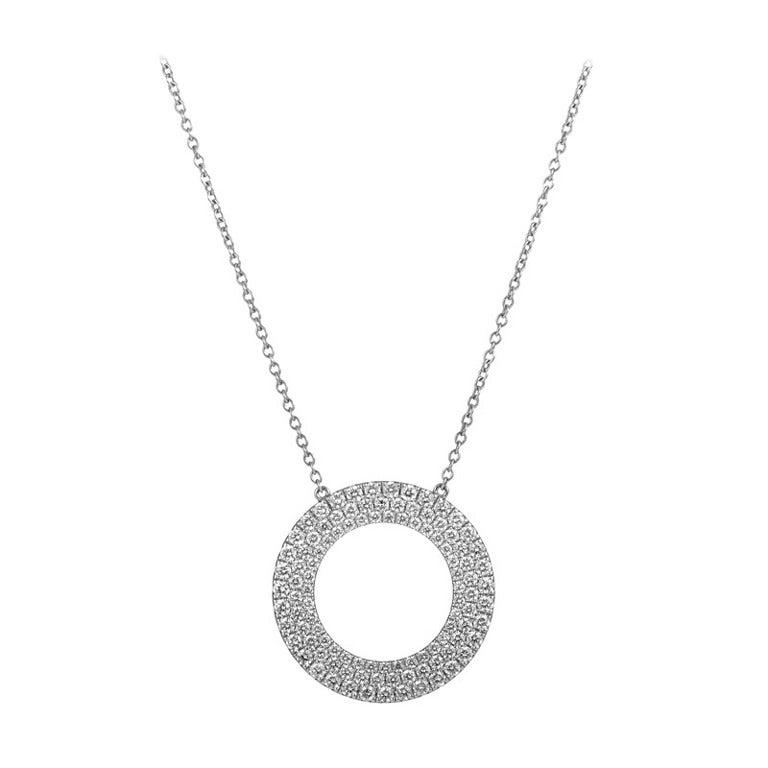 5a5485b99 Tiffany & Co. Metro Three-Row Diamond Gold Circle Pendant Necklace For Sale