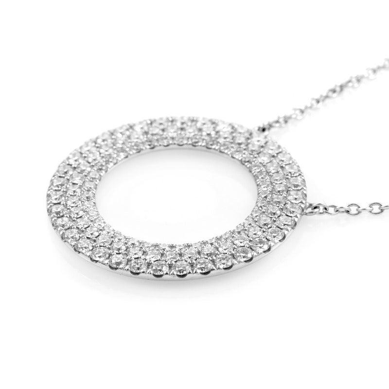 f70ca42bf Tiffany & Co. Metro Three-Row Diamond Gold Circle Pendant Necklace In  Excellent Condition