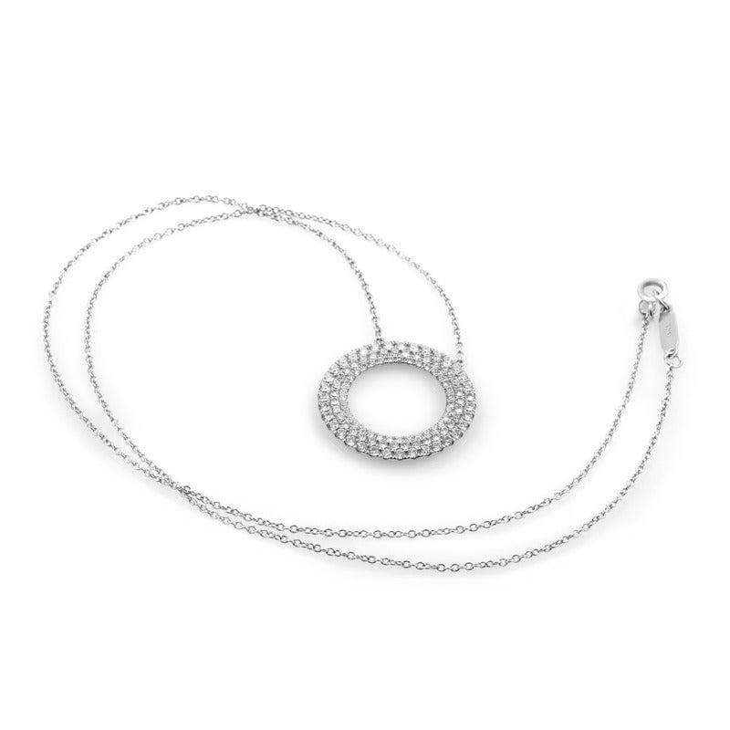 262dad40d Women's Tiffany & Co. Metro Three-Row Diamond Gold Circle Pendant Necklace  For Sale