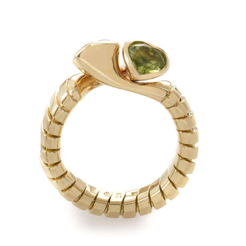 bulgari citrine peridot gold double heart ring 2