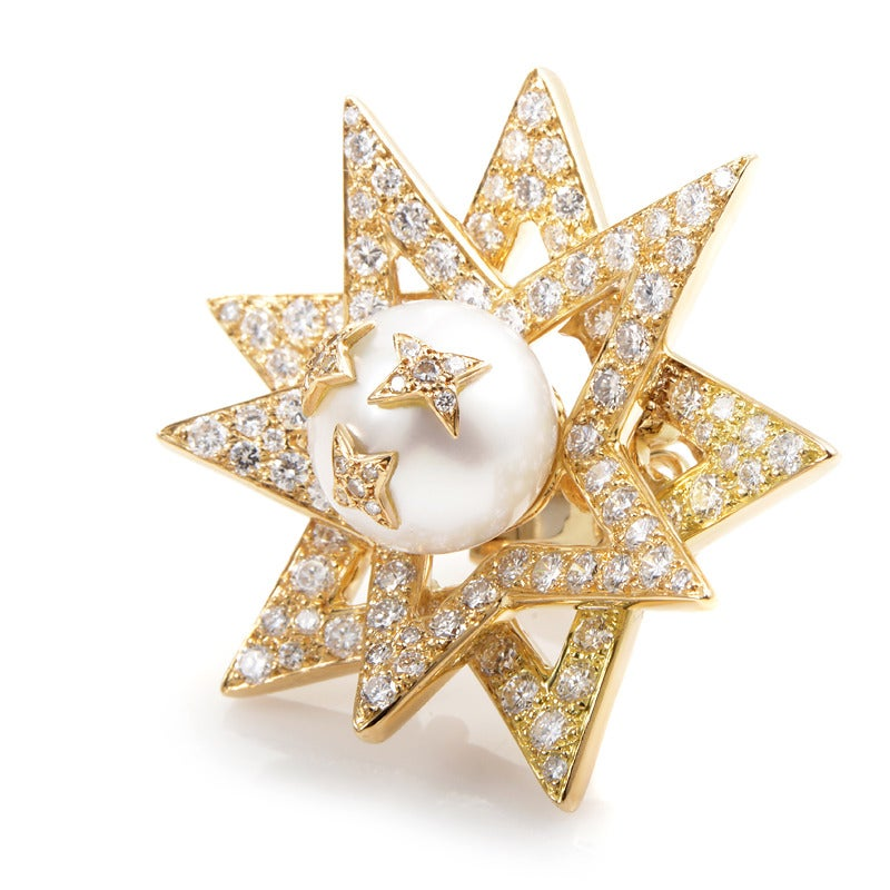 Chanel Pearl Gold Earrings Chanel Pearl Diamond Gold