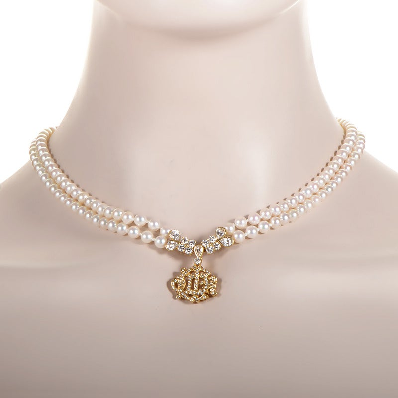Christian Dior Pearl Diamond Gold Necklace at 1stdibs