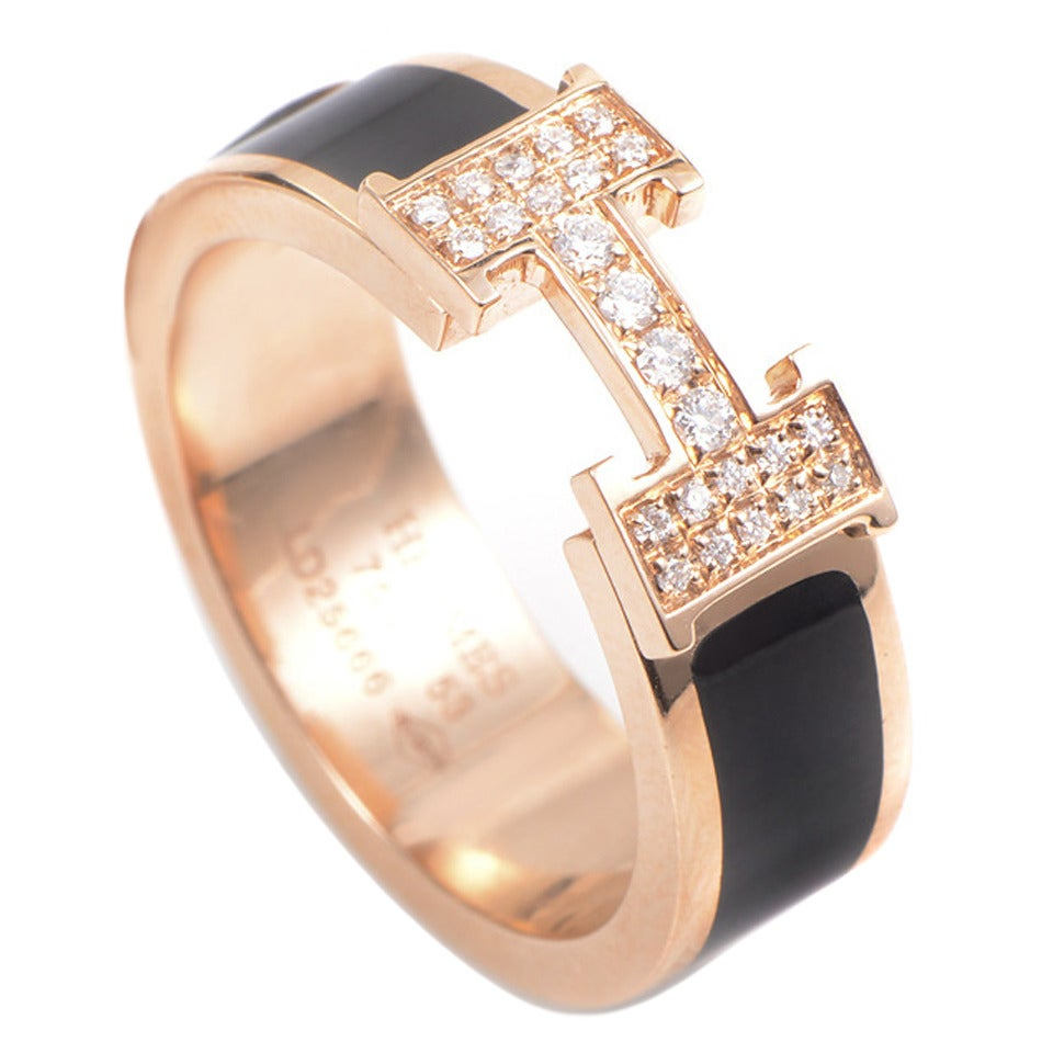 Hermes Rose Gold Diamond Quot H Quot Ring At 1stdibs