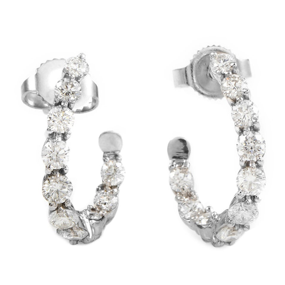Tiffany & Co Insideout Platinum And Diamond Hoop Earrings 1
