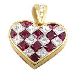 Tiffany & Co. Ruby Diamond Gold Checkered Heart Pendant