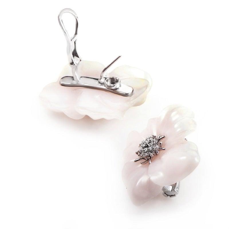 Suarez Pink Quartz Diamond Gold Flower Earrings In Excellent Condition For Sale In Southhampton, PA