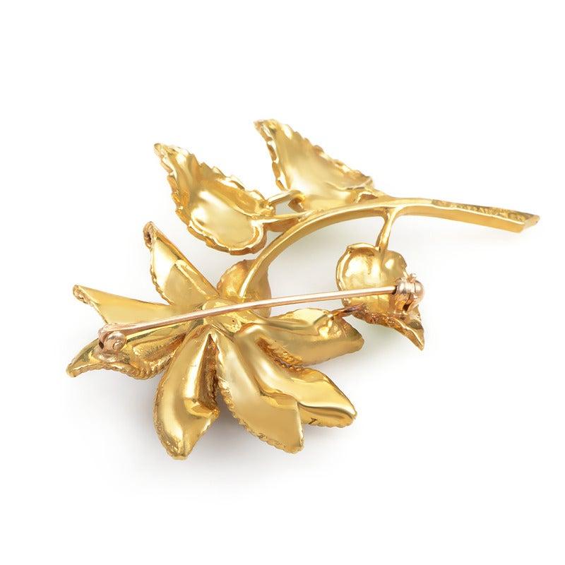 Tiffany and Co. Enamel Diamond Gold Flower Brooch at 1stdibs