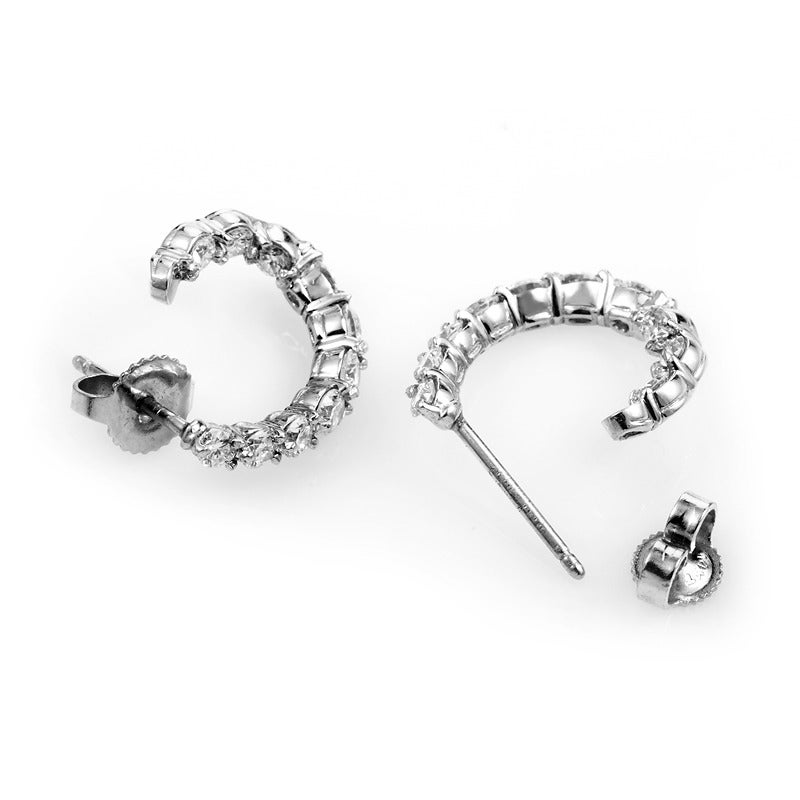Tiffany Co Inside Out Platinum And Diamond Hoop Earrings In New Condition For