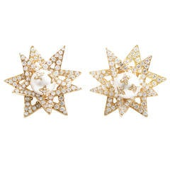 Chanel Pearl Diamond Gold Super Star Earrings