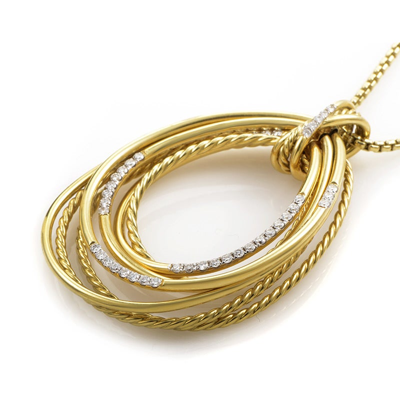 david yurman gold teardrop pendant necklace at 1stdibs