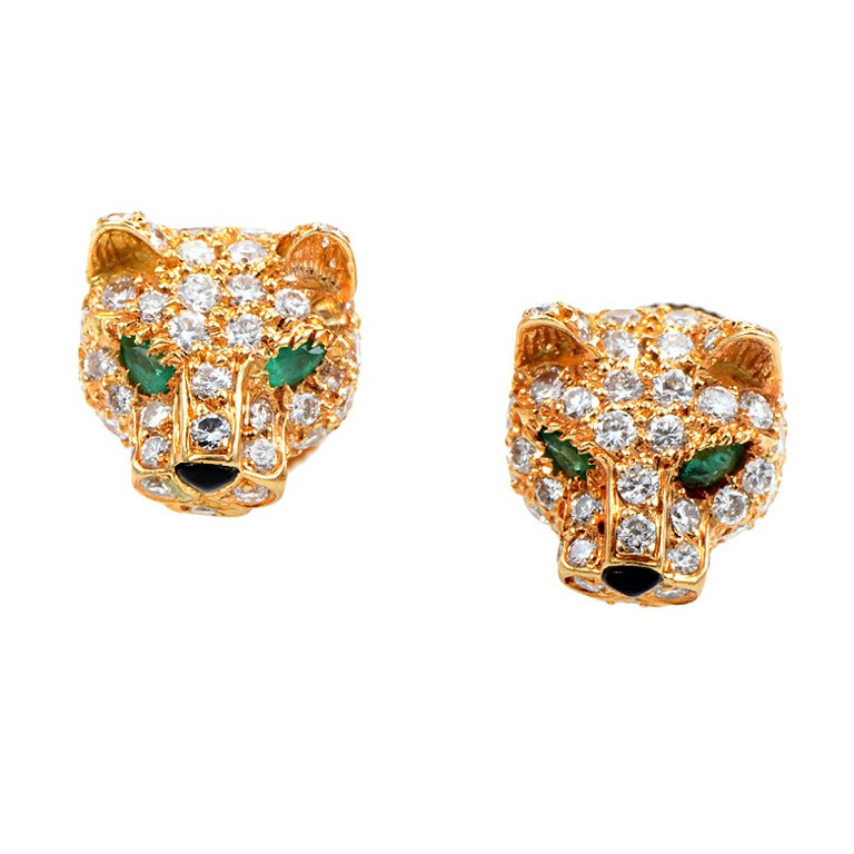 Cartier Panthere Gemstone Diamond Yellow Gold Earrings For