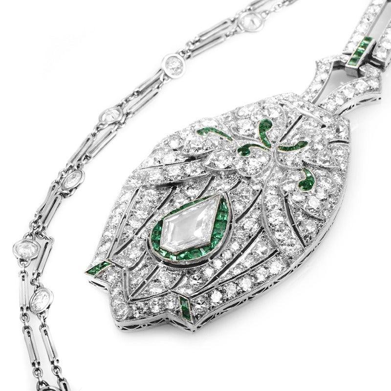 Women's Antique Emerald Diamond Platinum Pendant Necklace For Sale