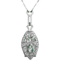 Antique Emerald Diamond Platinum Pendant Necklace