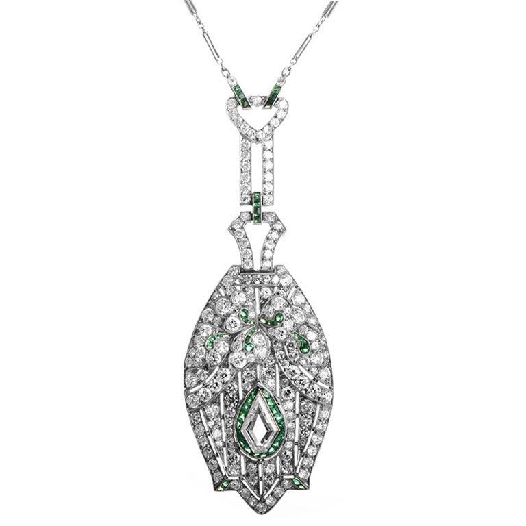 Antique Emerald Diamond Platinum Pendant Necklace For Sale