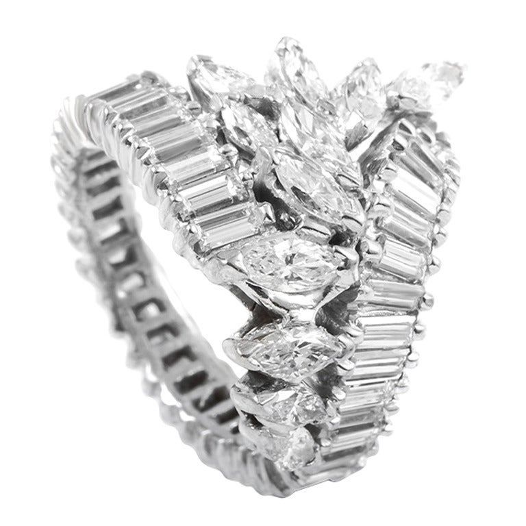 marquise and emerald cut platinum cluster ring at