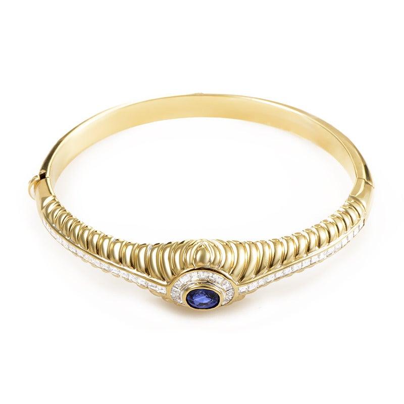 asprey sapphire gold bangle at 1stdibs