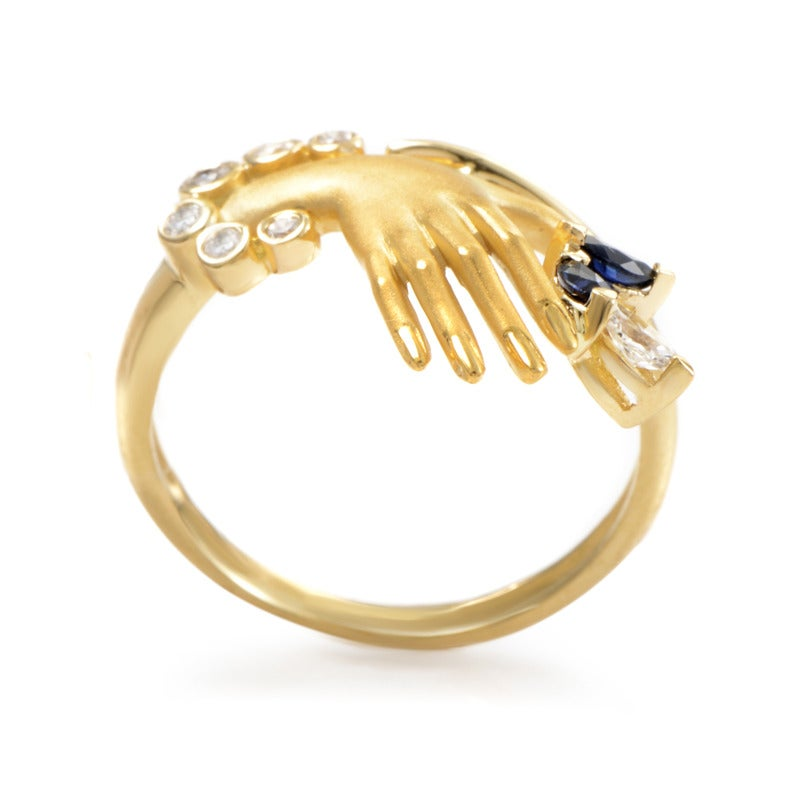 Carrera y Carrera Sapphire Diamond Gold Hand Ring at 1stdibs