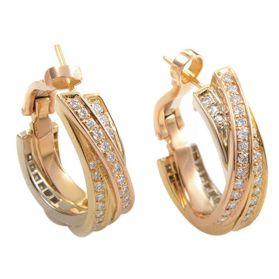 Cartier Trinity Diamond Three Color Gold Hoop Earrings 1