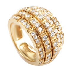 Cartier Diamond Pave Yellow Gold Bombe Ring