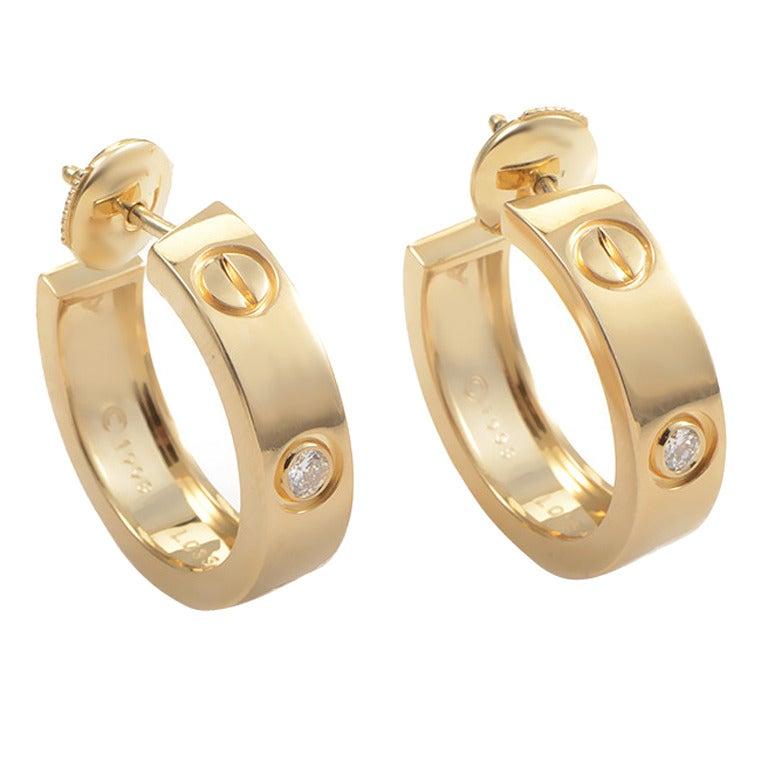 Cartier Diamond Gold LOVE Hoop Earrings 1