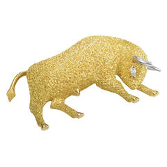 Henry Dunay Diamond Gold Platinum Bull Brooch