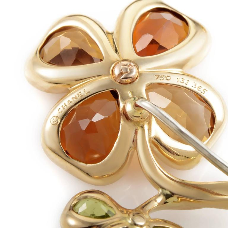 Chanel Yellow Gold Floral Gemstone Pin 3