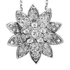 Van Cleef & Arpels Large Lotus White Gold Diamond Pendant Necklace