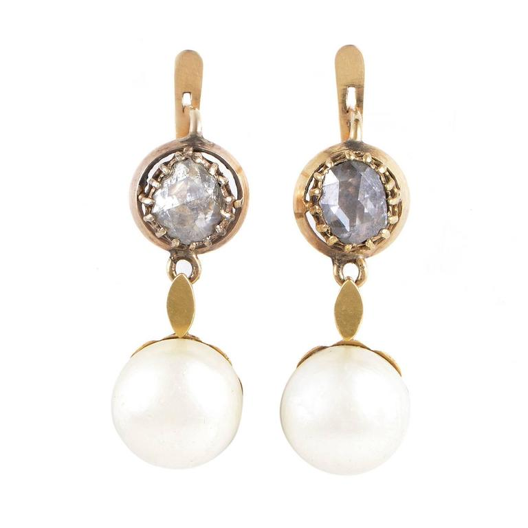 Antique Pearl Rose Cut Diamond Gold Earrings 1