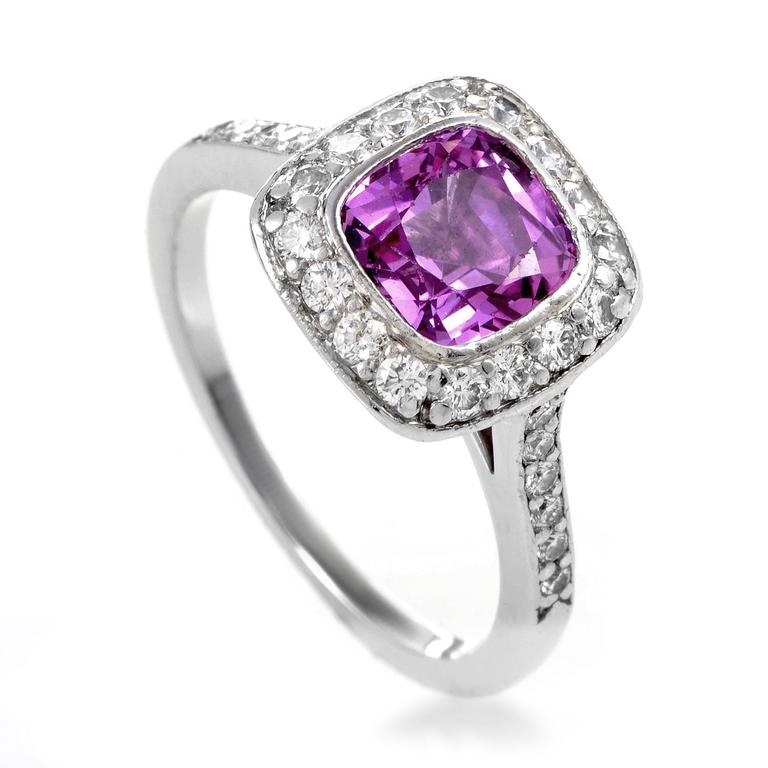 e7f73815cf14 Tiffany and Co. Legacy Pink Sapphire Diamond Platinum Ring at 1stdibs