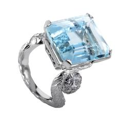 Aquamarine Diamond Gold Ring
