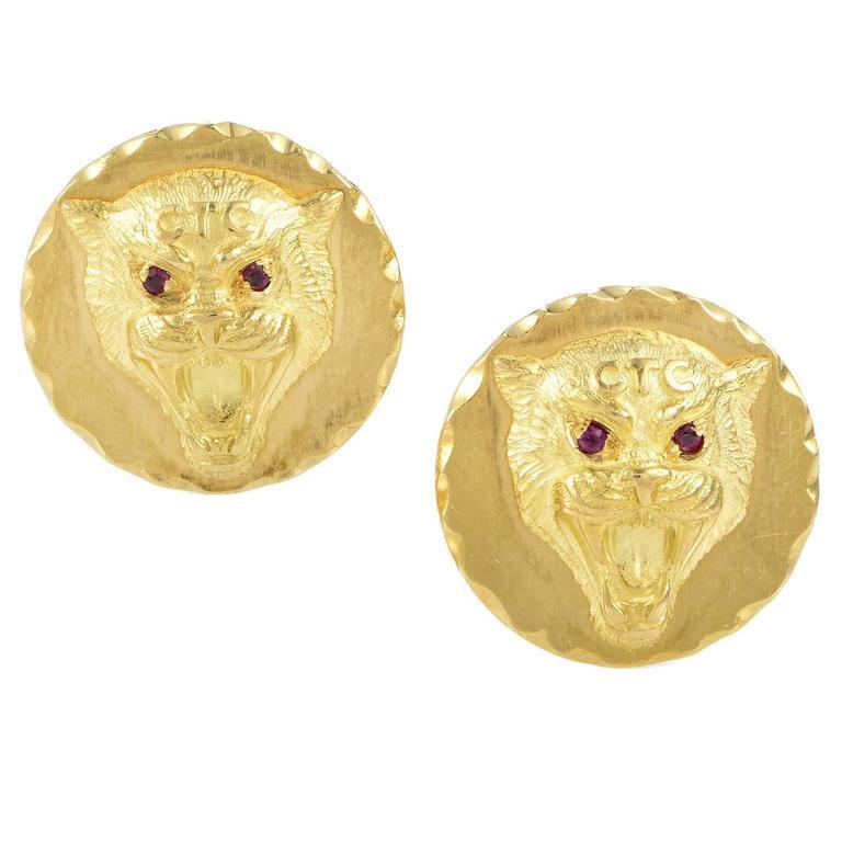 Van Cleef & Arpels Ruby Gold Wildcat Cufflinks For Sale