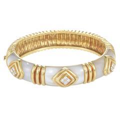 Van Cleef & Arpels Mother of Pearl Diamond Gold Bangle Bracelet