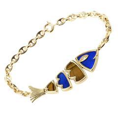 Van Cleef & Arpels Lapis Lazuli Tiger's Eye Gold Fish Bracelet