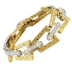 Hammerman Brothers Multi-Tone Gold Diamond Link Bracelet