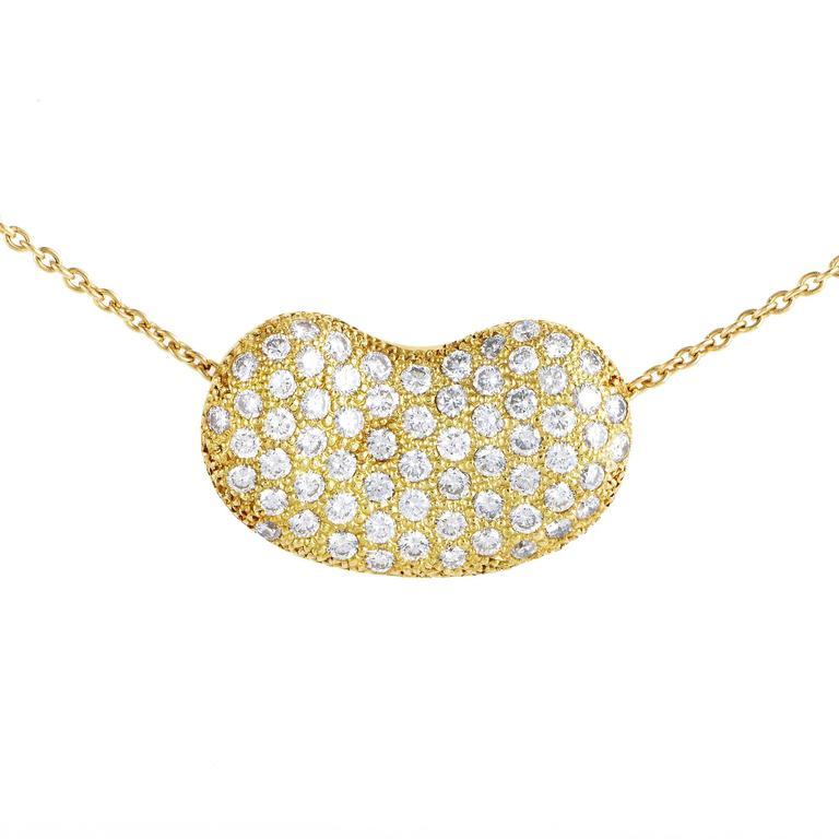 f7b4eb2df Tiffany & Co. Elsa Peretti Diamond Pave Gold Bean Pendant Necklace For Sale