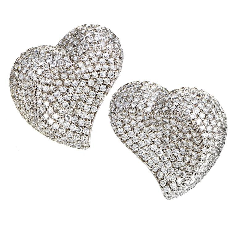 Diamond Micro Pave Gold Clip-On Heart Earrings For Sale