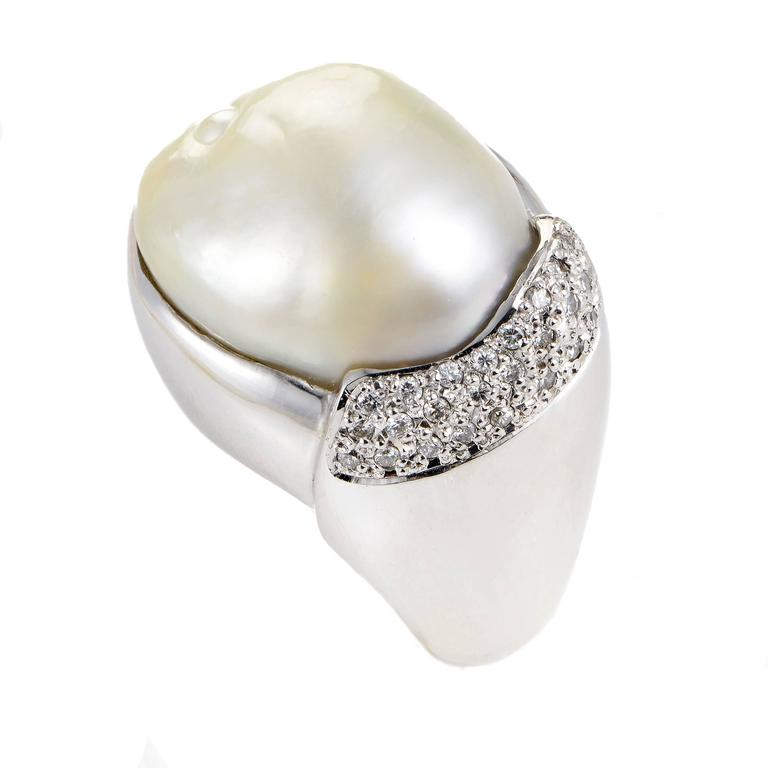 Mabe Pearl Diamond Platinum Ring