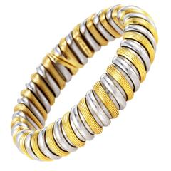 Bulgari Stainless Steel Gold Bangle Bracelet