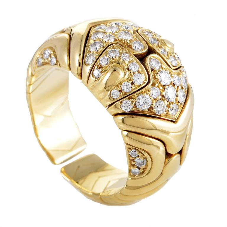 Bulgari Alveare Diamond Yellow Gold Band Ring For Sale