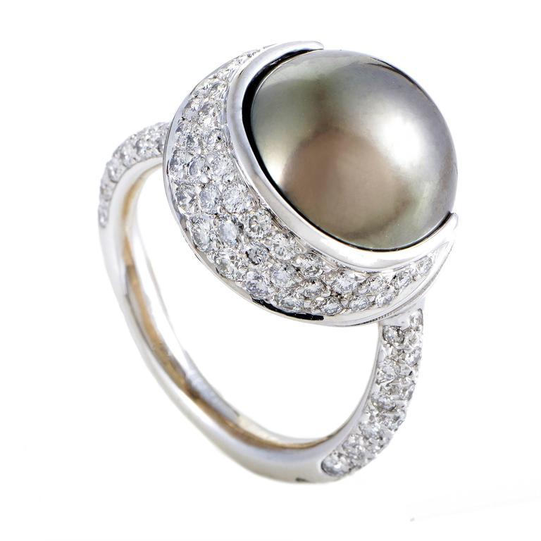 Chanel Black Tahitian Pearl Diamond Gold Ring