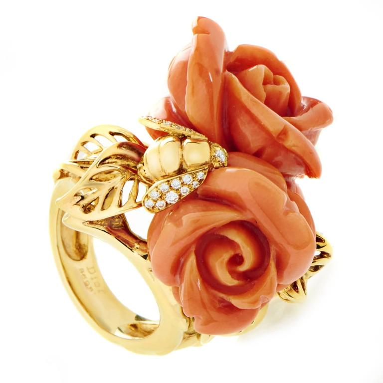 Dior Pré Catelan Coral Diamond Gold Rose Ring 1