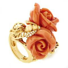 Dior Pré Catelan Coral Diamond Gold Rose Ring