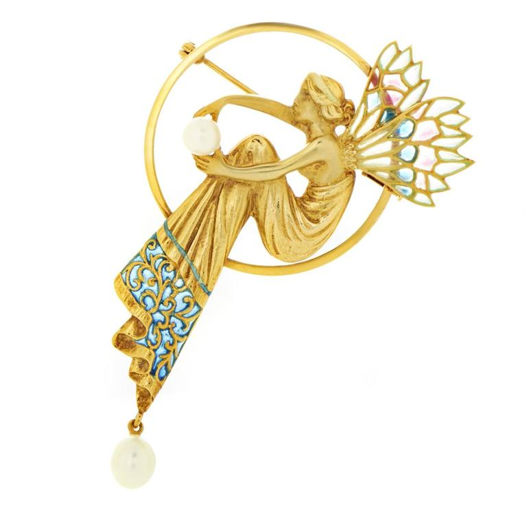 Masriera Enameled Pearl Gold Pendant Brooch 1