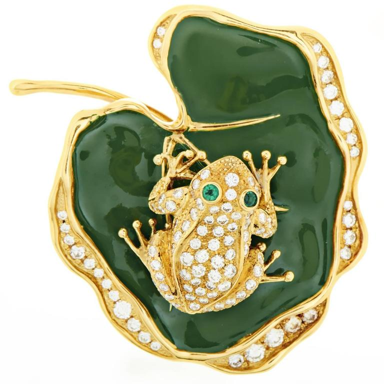 Waltham Enamel Emerald Diamond Gold Frog On Lily Pad Pendant Brooch At 1stdibs