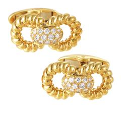 Guy Laroche Diamond Gold Cufflinks