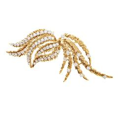 Diamond Two Color Gold Brooch