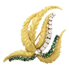 Emerald Diamond Two Color Gold Brooch