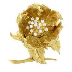 Hammerman Brothers Diamond Gold Flower Brooch