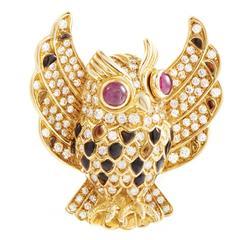 Gemstone Diamond Gold Owl Brooch